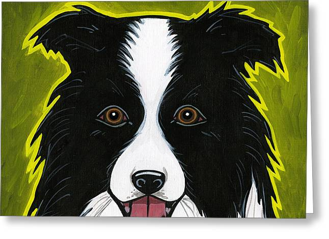 Border Collie Greeting Card by LEANNE WILKES