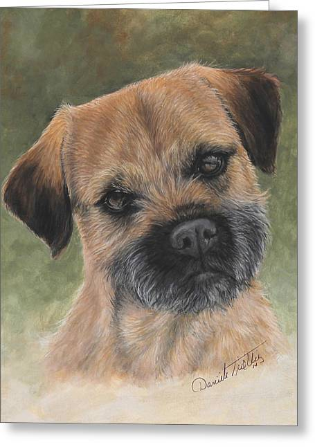 Recently Sold -  - Puppies Paintings Greeting Cards - Border Terrier portrait Greeting Card by Daniele Trottier