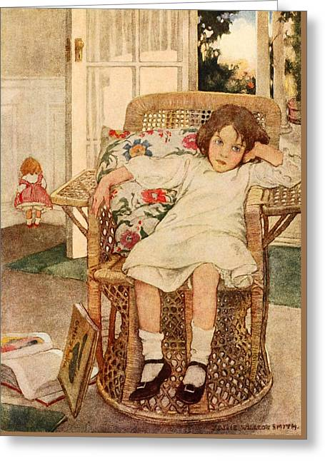 Art Book Greeting Cards - Bored Child Greeting Card by Jessie Willcox Smith