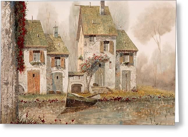Mist Paintings Greeting Cards - Borgo Nebbioso Greeting Card by Guido Borelli