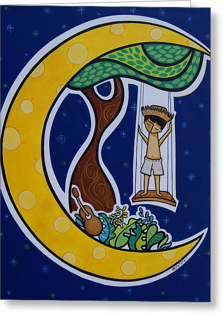 Puerto Rico Greeting Cards - Borincano en la Luna Greeting Card by Mary Tere Perez
