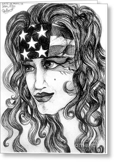 4th July Drawings Greeting Cards - Born 4th of July. Patriotic girl image. Sofia Goldberg Greeting Card by Sofia Metal Queen