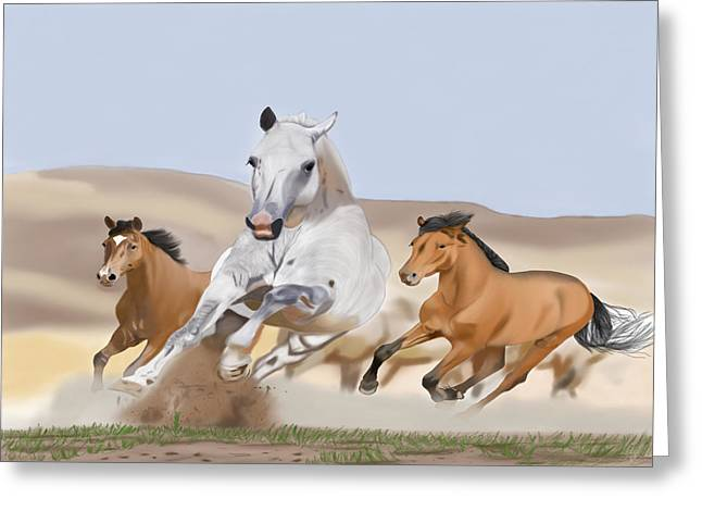 Wild Life Drawings Greeting Cards - Born Free Greeting Card by Edgardo Rodriguez