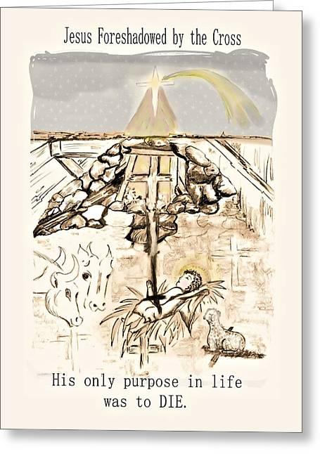 Star Of Bethlehem Drawings Greeting Cards - Born to Die Greeting Card by Myrna Migala