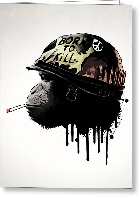Monkey Greeting Cards - Born To Kill Greeting Card by Nicklas Gustafsson