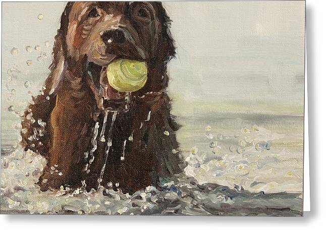 Chocolate Lab Greeting Cards - Born To Run- Bruce Springsteen Greeting Card by Tess Lehman