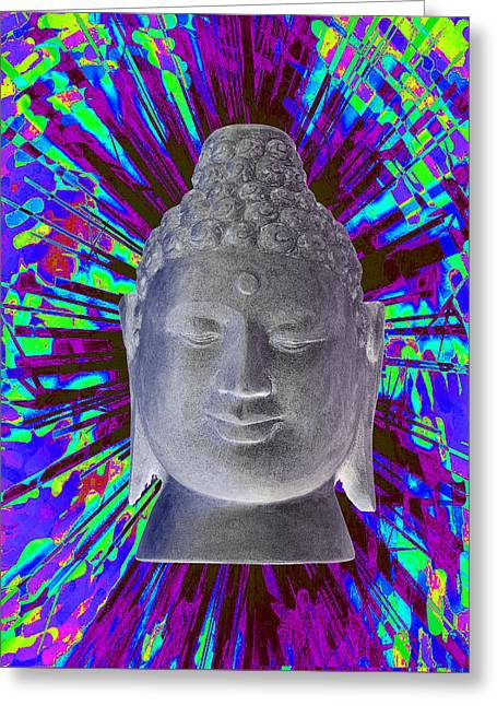 Buddhist Sculptures Greeting Cards - Borobudur colorful Greeting Card by Terrell Kaucher