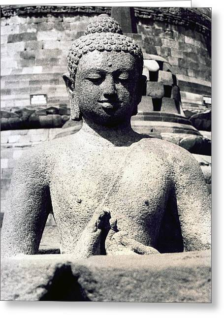 Statue Portrait Greeting Cards - Borobudur Temple  Greeting Card by Mario Bennet