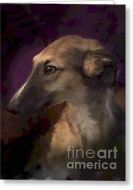 Puppy Digital Art Greeting Cards - Borzoi Romance Fanciful Greeting Card by Maxine Bochnia