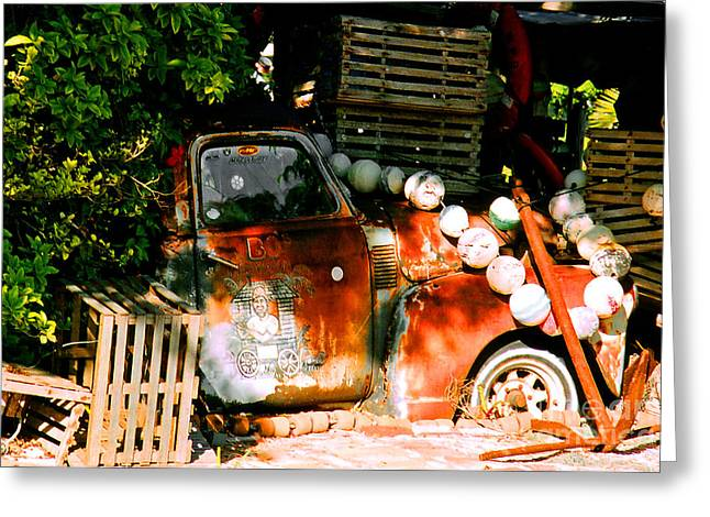 Lobster Shack Greeting Cards - B.O.s Fish Wagon in Key West Greeting Card by Susanne Van Hulst