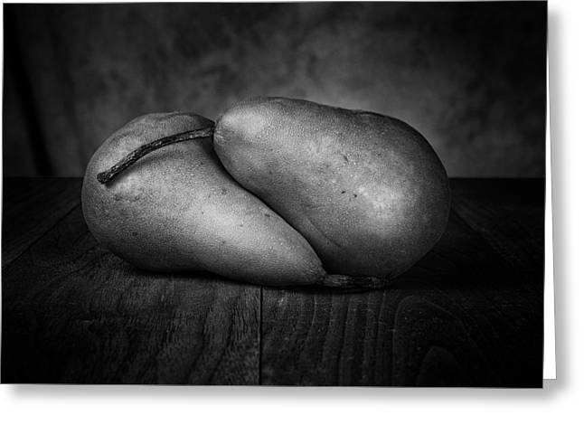 Bosc Pears In Black And White Greeting Card by Tom Mc Nemar
