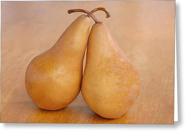 Beurre Bosc Greeting Cards - Bosc Pears Still Life Greeting Card by Tanis Saucier