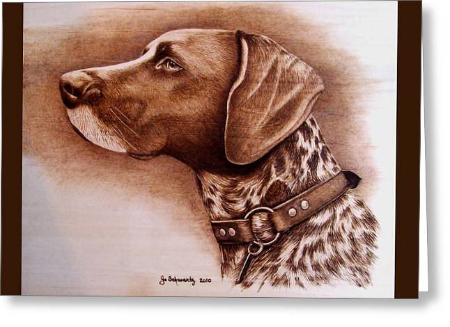 Dog Portraits Pyrography Greeting Cards - Boscoe Greeting Card by Jo Schwartz