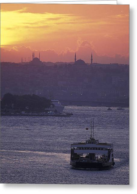 Golden Horn Greeting Cards - Bosporus At Sunset Facing The Golden Greeting Card by Richard Nowitz