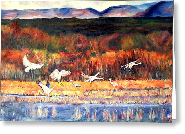 Sandhill Cranes Paintings Greeting Cards - Bosque Del Apache Greeting Card by Linda  Marie Carroll
