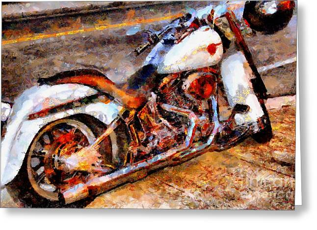 Made In The Usa Digital Greeting Cards - Boss Hog . Harley-Davidson .  Painterly . 7D12757 Greeting Card by Wingsdomain Art and Photography