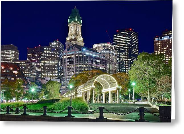 Boston Above Christopher Columbus Park Greeting Card by Frozen in Time Fine Art Photography