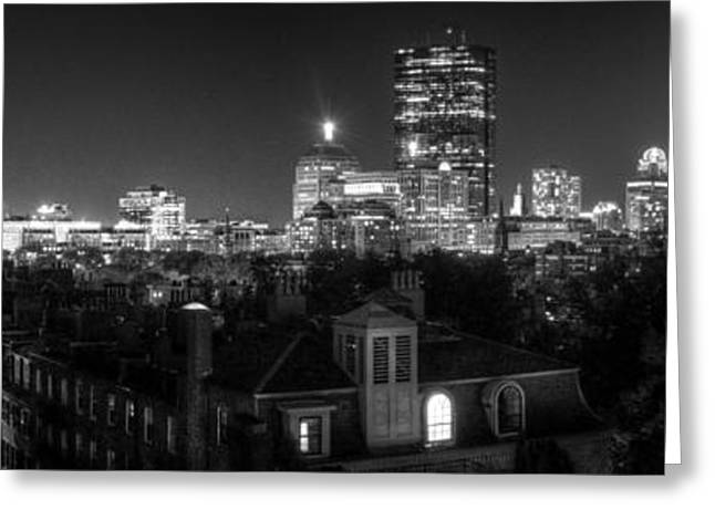 Black And White Hdr Greeting Cards - Boston After Dark Greeting Card by Andrew Kubica
