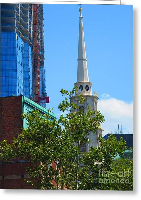 Christmas Greeting Greeting Cards - Boston America USA Beautiful Architecture towers buildings churches NavinJoshi FineArtAmerica Greeting Card by Navin Joshi