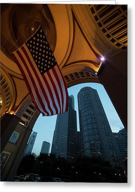 Boston American Flag Two International Place Greeting Card by Toby McGuire