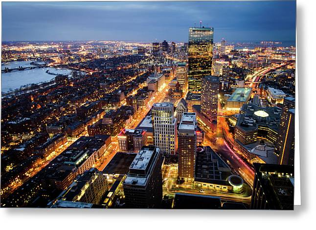 Boston At Night Greeting Card by Michael Weber