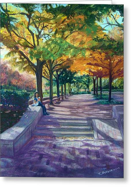 Boston Pastels Greeting Cards - Boston Autumn Greeting Card by Katherine  Berlin