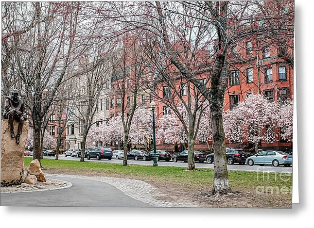 Townhouses Greeting Cards - Boston Back Bay in Spring Greeting Card by Edward Fielding