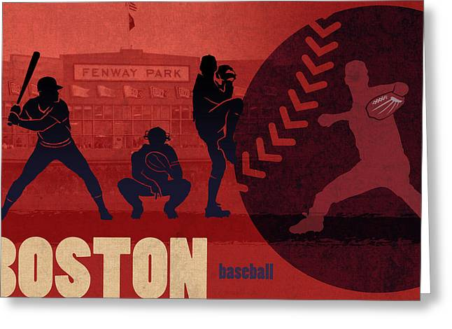Boston Sports Greeting Cards - Boston Baseball Team City Sports Art Greeting Card by Design Turnpike