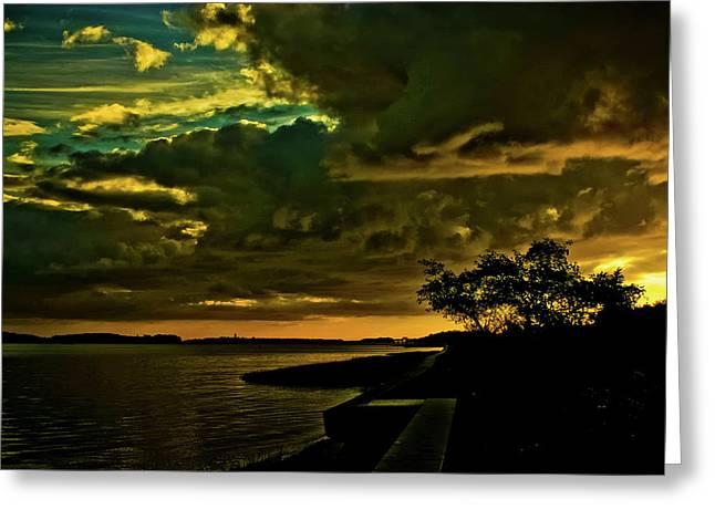 Boston Bay Sunrise Greeting Card by Albert Seger