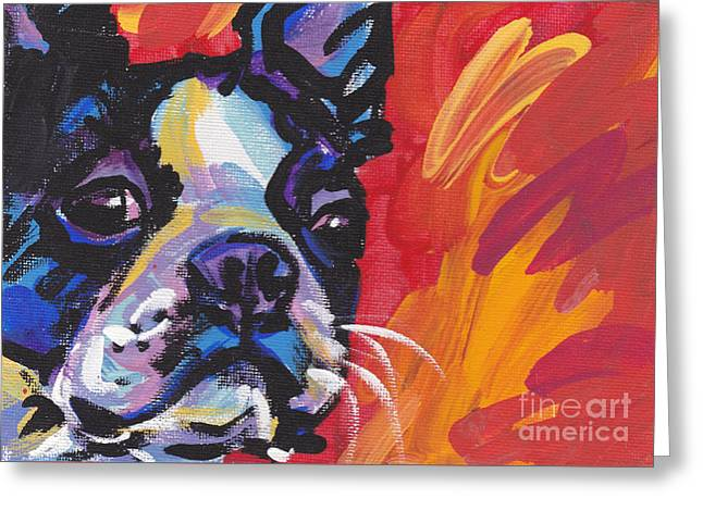 Boston Terrier Greeting Cards - Boston Bean Greeting Card by Lea