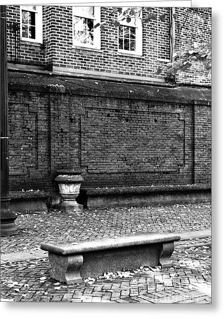 Recently Sold -  - ist Photographs Greeting Cards - Boston Bench bw Greeting Card by John Rizzuto