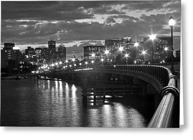 Boston Ma Greeting Cards - Boston Blue Hour Black and White Greeting Card by Toby McGuire