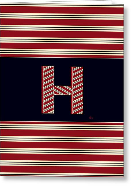 Boston Red Sox Greeting Cards - Boston Brookliner 1920s Monogram letter H Greeting Card by Cecely Bloom