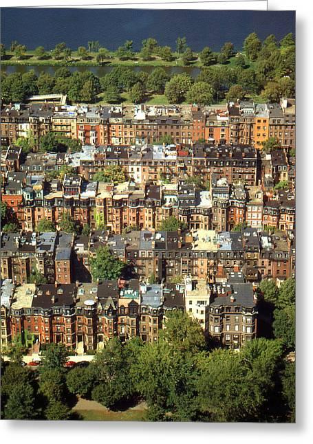 Boston Brownstone Buildings - Photo Art Greeting Card by Art America Online Gallery