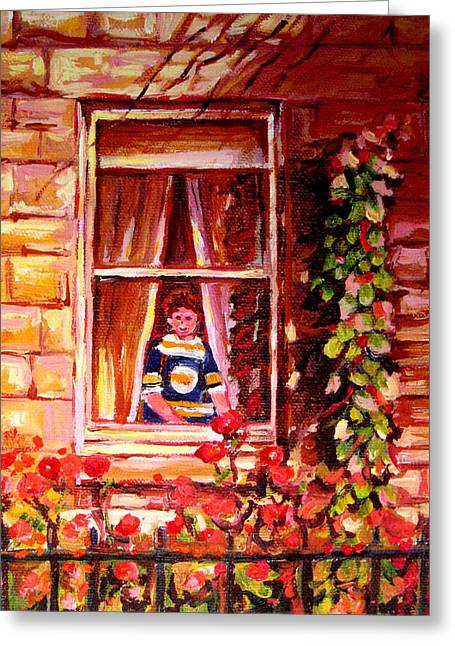 Boston Bruin Fan Greeting Card by Carole Spandau