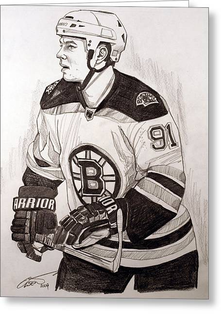 Nhl Hockey Drawings Greeting Cards - Boston Bruin Star Marc Savard Greeting Card by Dave Olsen