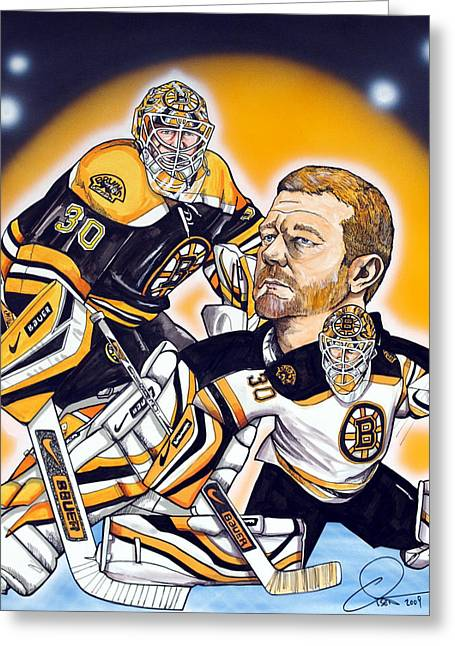Nhl Hockey Drawings Greeting Cards - Boston Bruins Goalie Tim Thomas Greeting Card by Dave Olsen