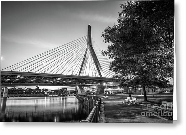 Boston Bunker Hill Bridge At Night Black And White Picture Greeting Card by Paul Velgos