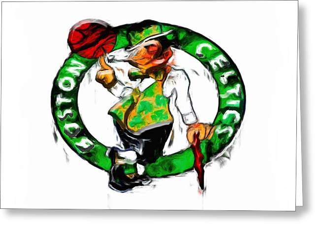 Basketballs Greeting Cards - Boston Celtics 2b Greeting Card by Brian Reaves