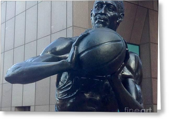 Basketballs Greeting Cards - Boston Celtics Bill Russell Greeting Card by Gina Sullivan