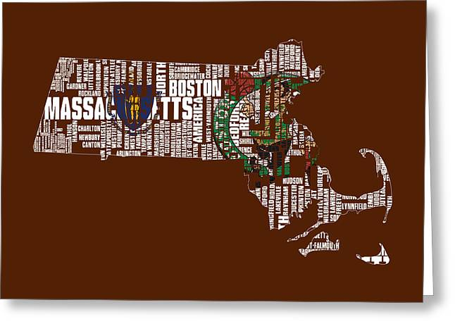 Boston Globe Greeting Cards - Boston Celtics Typographic Map 1 Greeting Card by Brian Reaves