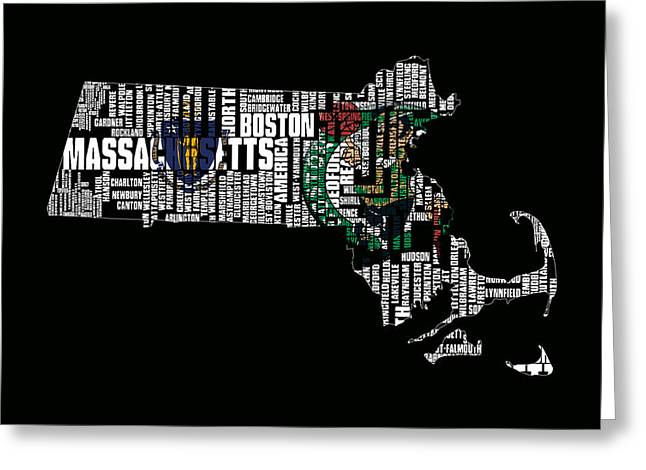 Massachusetts Bay Colony Greeting Cards - Boston Celtics Typographic Map Greeting Card by Brian Reaves