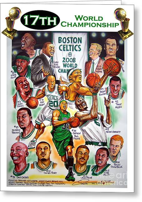 Boston Celtics Drawings Greeting Cards - Boston Celtics World Championship Newspaper Poster Greeting Card by Dave Olsen