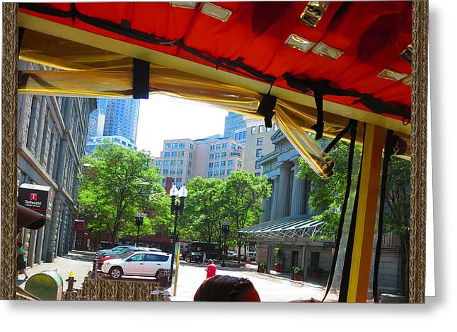 Long Street Greeting Cards - Boston City Bus Tour n Duck Tour on Lake photography view windows by NavinJoshi FineArtAmerica Pixel Greeting Card by Navin Joshi