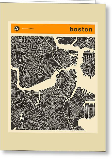 City. Boston Greeting Cards - Boston City Map Greeting Card by Jazzberry Blue