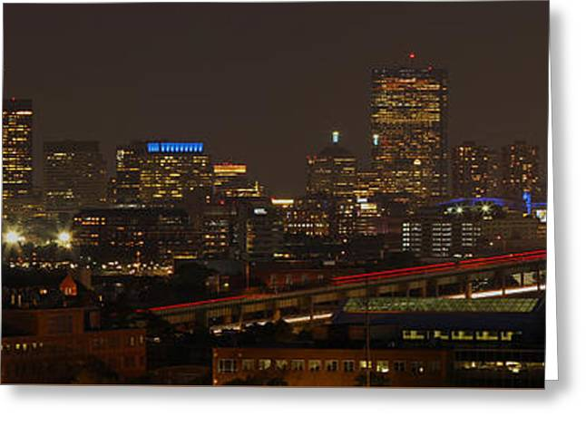 Boston City Panoramic Greeting Card by Juergen Roth
