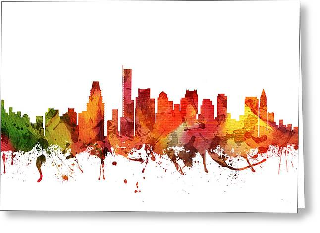 Boston Drawings Greeting Cards - Boston Cityscape 04 Greeting Card by Aged Pixel