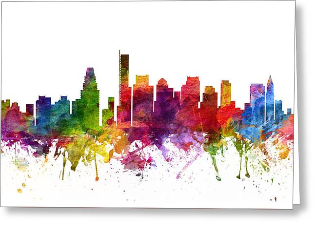 Boston Drawings Greeting Cards - Boston Cityscape 06 Greeting Card by Aged Pixel