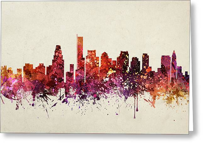 Boston Drawings Greeting Cards - Boston Cityscape 09 Greeting Card by Aged Pixel