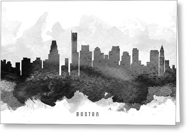 Boston Skyline Greeting Cards - Boston Cityscape 11 Greeting Card by Aged Pixel